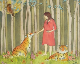 Sharing Strawberries with Tigers- l limited edition print of original mixed media painting