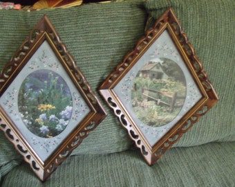 Vintage matching frames, matts original to frames hand painted matts by me.
