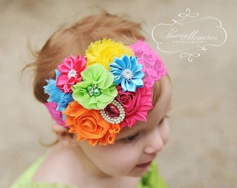 Rainbow Headband/Lime Headband/Hot Pink Headband/Infant Headband/Baby Headband/Toddler Headband/Girl Headband/Birthday Headband/Photo Prop