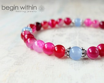 Self Love Pink Agate Bracelet / Crystal Healing Gemstone Bracelet / Yoga Bracelet with Optional Charm