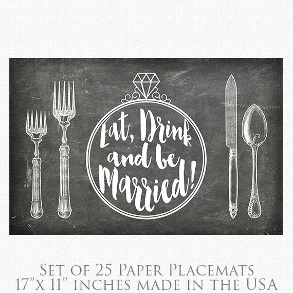 Custom paper placemats for wedding