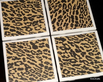 Leopard Coaster, Coasters, Coaster, Tile Coaster, Table Coasters, Tile Coasters, Ceramic Coasters, Drink Coasters, Coasters Set of 4
