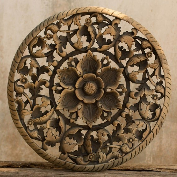 Carved wood wall art panel reclaim teak wood by siamsawadee - Wooden panel art ...