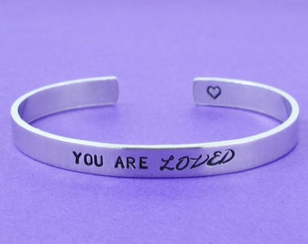 You Are Loved - Hand Stamped Aluminum Cuff Bracelet, Mother Daughter Best Friends BFF Personalized Jewelry