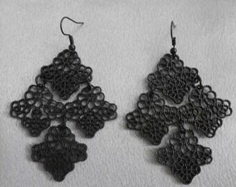 Handmade, Black Filigree Chandelier Earrings- Black, Metal, Woman's Gift, Jewelry, Earrings, Long Earrings