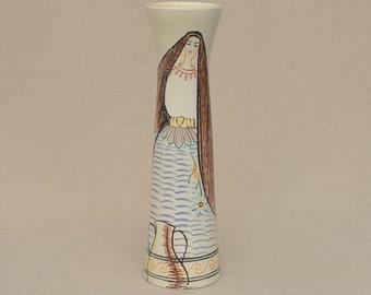 Vintage Hand Painted Cerart Monaco Vase Women & Cactus of Exotique Garden, Spirit of Princess Grace in 50's, Signed M on vase, 2937 F