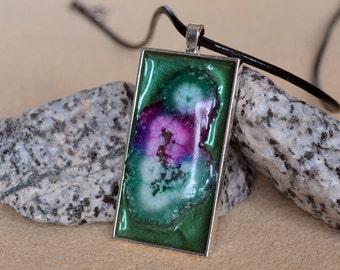 Solar Quartz Multicolored handmade pendant