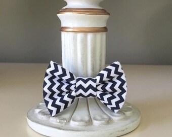Tiny Dog Bow / Bow Tie - Small Black and White Chevron Pattern