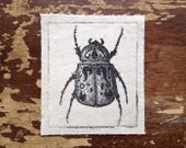 scarab beetle nature punk patch, sew on patch, insect art  print