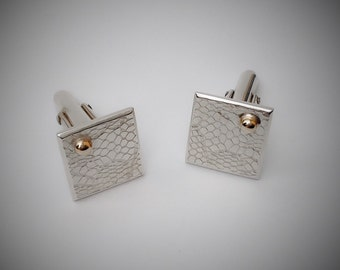 Catching The Ray: sterling silver and 9ct Gold Cufflinks. UK Handmade.
