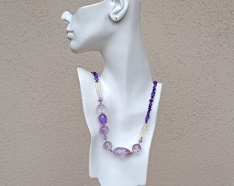 Amethyst Necklace Purple Necklace Asymmetrical Amethyst Bubble Necklace