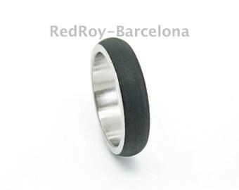 Ergonomic ring, black stainless steel ring