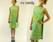60s SILK Harvey Berin Hawaiian CAPE Bold Summer VACATION Tropical Shift Mod Mini Dress | medium
