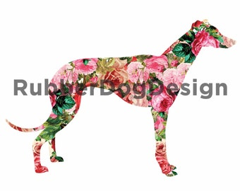 GREYHOUND WHIPPET LURCHER Vintage Flower Design - Digital Floral Clip Art Graphics for Personal or Commercial Use