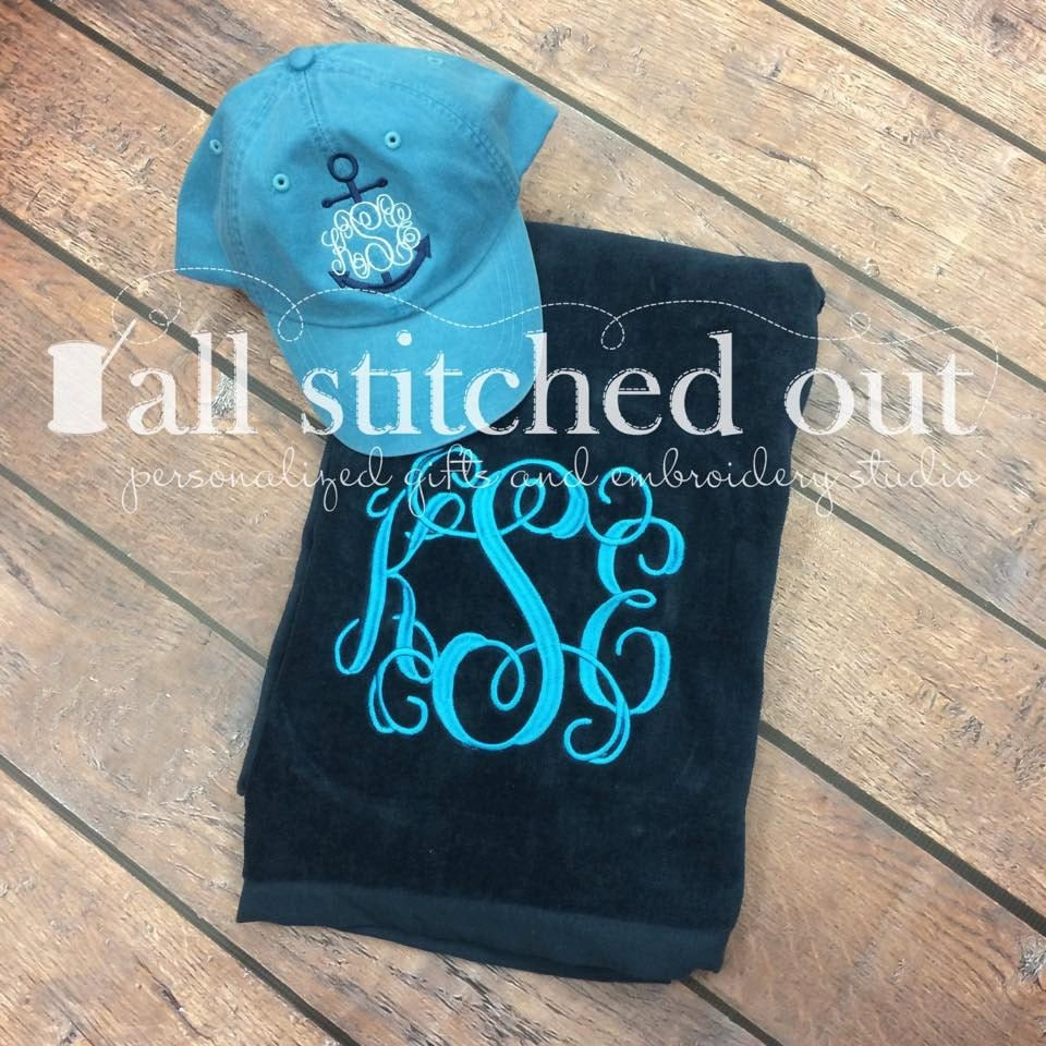 Monogrammed Beach Towel Personalized By AllStitchedOutStudio