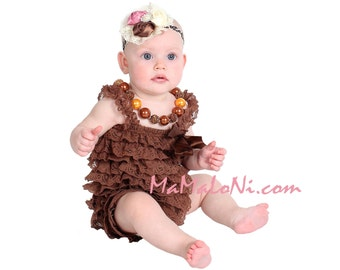 SALE!!! 2pc Chocolate Brown Baby Girl's OUTFIT, Lace Romper, Baby Headband, photo prop, lace romper, petti romper, petti dress, baby romper