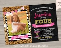 Animal Print, Leopard, Cheeta, Zebra, Pink, Gold Invitation DIGITAL FILE