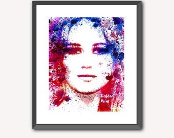 Jennifer Lawrence Art Print JLaw Watercolour Wall Art 8x10 10x12 12x16 16x20 A3 A2 A1 Wall Art Poster Decor