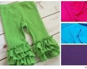 Ruffled Leggings for baby, toddler, girls - capris or pants - Summer colors: hot pink, purple, aqua, lime green