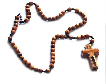 jerusalem rosary  with jordan river water  necklace  rosary natural olive wood beads new design