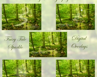 5 Magical Fantasy PNG Digital Overlays of Fairy Tale Sparkle