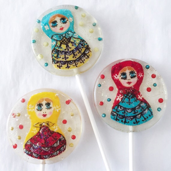 3 Plum Flavored Hand Painted Marzipan Matryoshka Doll Lollipops