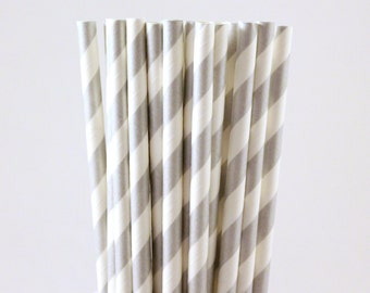 Silver Striped Paper Straws-Striped Straws-Silver Straws-Wedding Straws-Party Straws-Shower Straws-Mason Jar Straws-Cake Pop Sticks