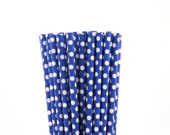 Blue with Small White Polka Dot Paper Straws-Blue Straws-Polka Dot Straws-French Party Straws-Wedding Straws-Shower Straws-Cake Pop Sticks
