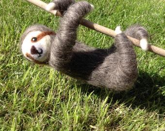 Sloth Needle Felted Handmade