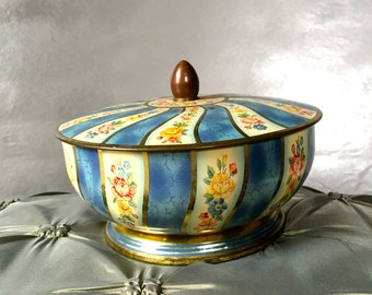 Vintage Blue Floral Candy Tin, Belgium