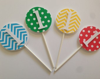 Cupcake toppers,  personalized toppers , set of 12,party decorations, chevron & polka dot