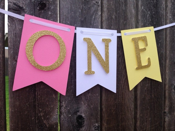 Pink & Gold banner, ONE,  first Birthday, I am one,