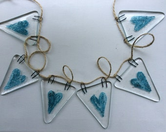Fused Glass Bunting Blue Hearts Design