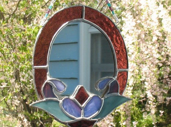 Stained glass oval decorative wall mirror bathroom decor