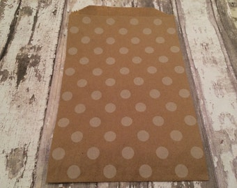 """12 Kraft Paper Gift Bags, 5"""" X 7 1/2"""".  Brown with White Polka Dot Design, Favor Bags, Party, Wedding, Shower"""