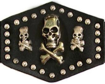 Triple (3) Skulls and Cross Bones on Leather