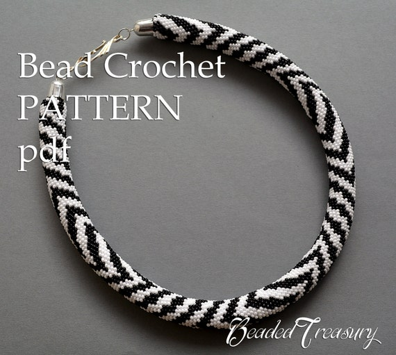 pattern for bead crochet necklace zebra bead. Black Bedroom Furniture Sets. Home Design Ideas
