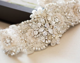 Ivory and silver bridal sash - Style S58