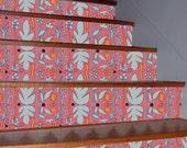 Pink Mirror Garden.  Self Stick Fabric WallPaper   FREE shipping.