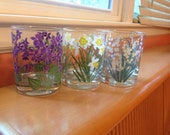 Vintage Floral Cera Glassware/ Barware -set of 3