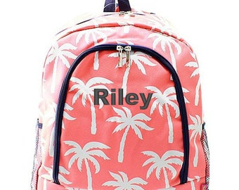 Personalized Backpack Monogrammed Bookbag Palm Tree Coral Pink Orange White Girl Large Canvas Kids Tote School Bag Embroidered Monogram Name