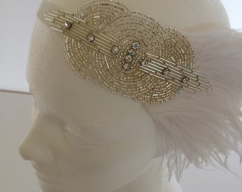 White Feather Deco Headpiece, Ostrich Feather Headpiece, Art Deco Headpiece, Ostrich Flapper Dress Hair Accessories, Gatsby Dress