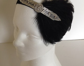 SILVER BEADED headband, black feather headpiece, rhinestone fascinator, great gatsby flapper 1920's flapper Bridesmaids Gifts Fascinator