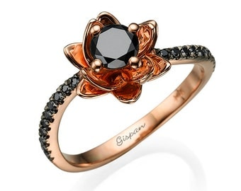 Black Diamond Ring, Flower Ring, Engagement Ring, Rose Gold Ring, Floral Ring, Unique Ring, Promise Ring, Cocktail Ring, Anniversary Ring