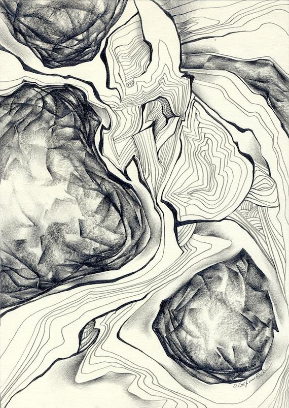 Abstract Pencil Drawing Original
