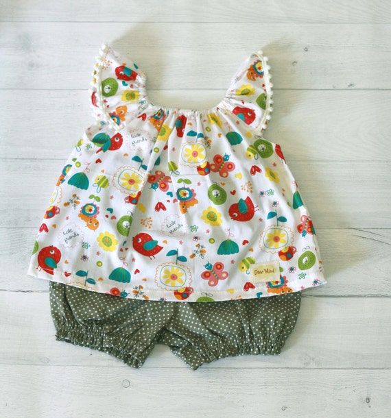 Little bird baby clothes set top and bloomer green polkadot