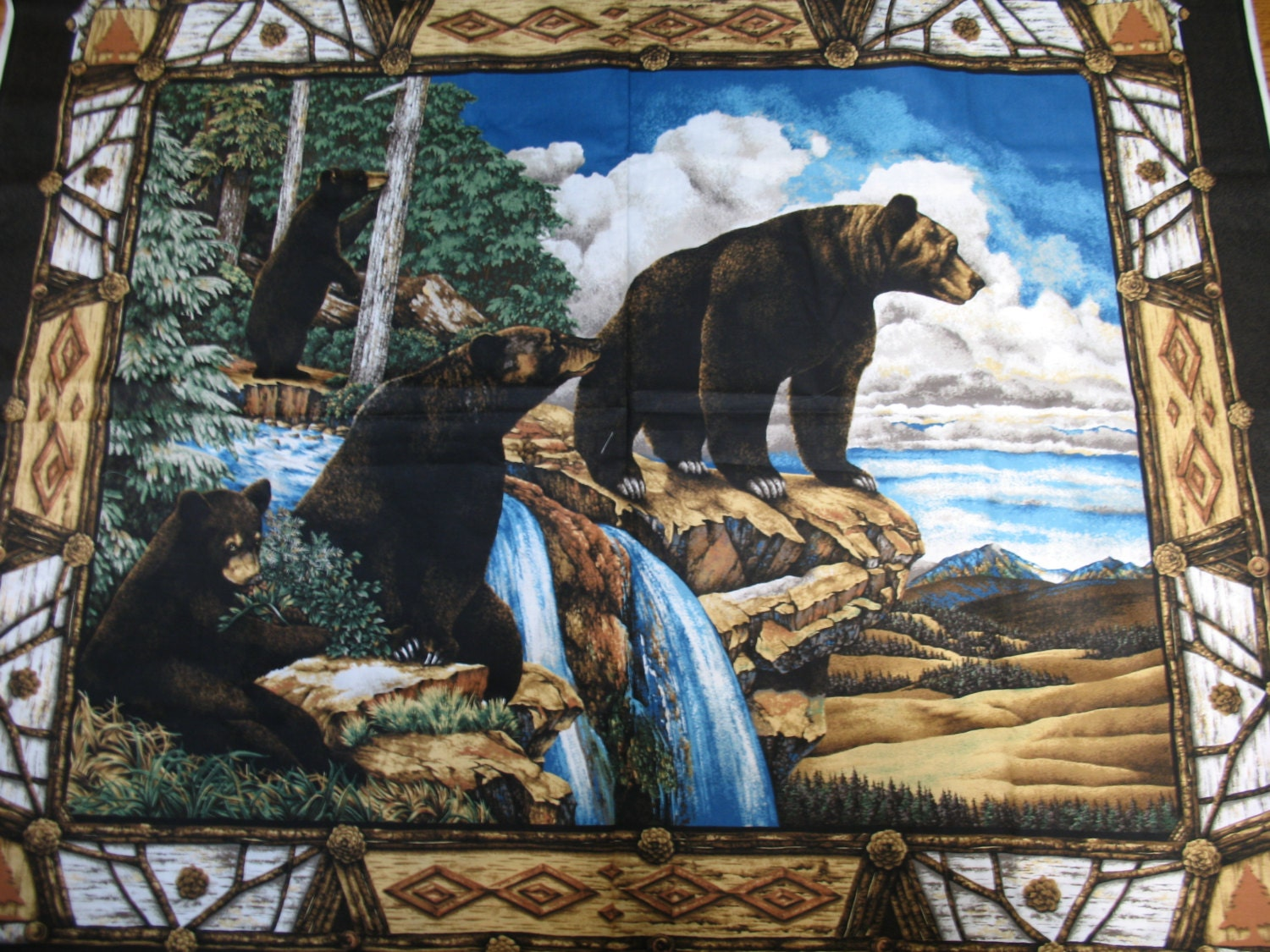 Bears Fabric Panel Black Bear Mountain Fabric Quilt Panel