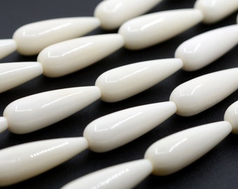 0337 30mm Ox Bone teardrop drop loose beads 16.5""