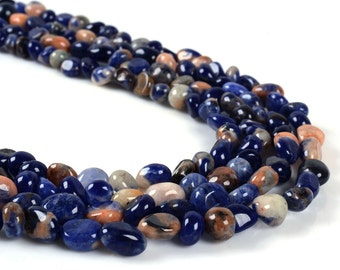 0802 Natural blue sodalite Pebble Chips loose gemstone beads 16""