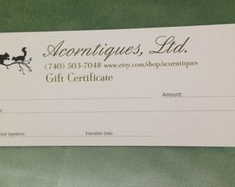 Acorntiques, Ltd. Gift Certificates